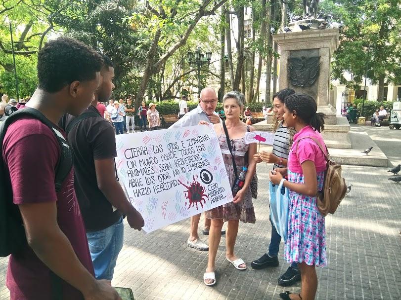 Estudiantes sensibilizan sobre protección animal en importante Plaza de Cartagena
