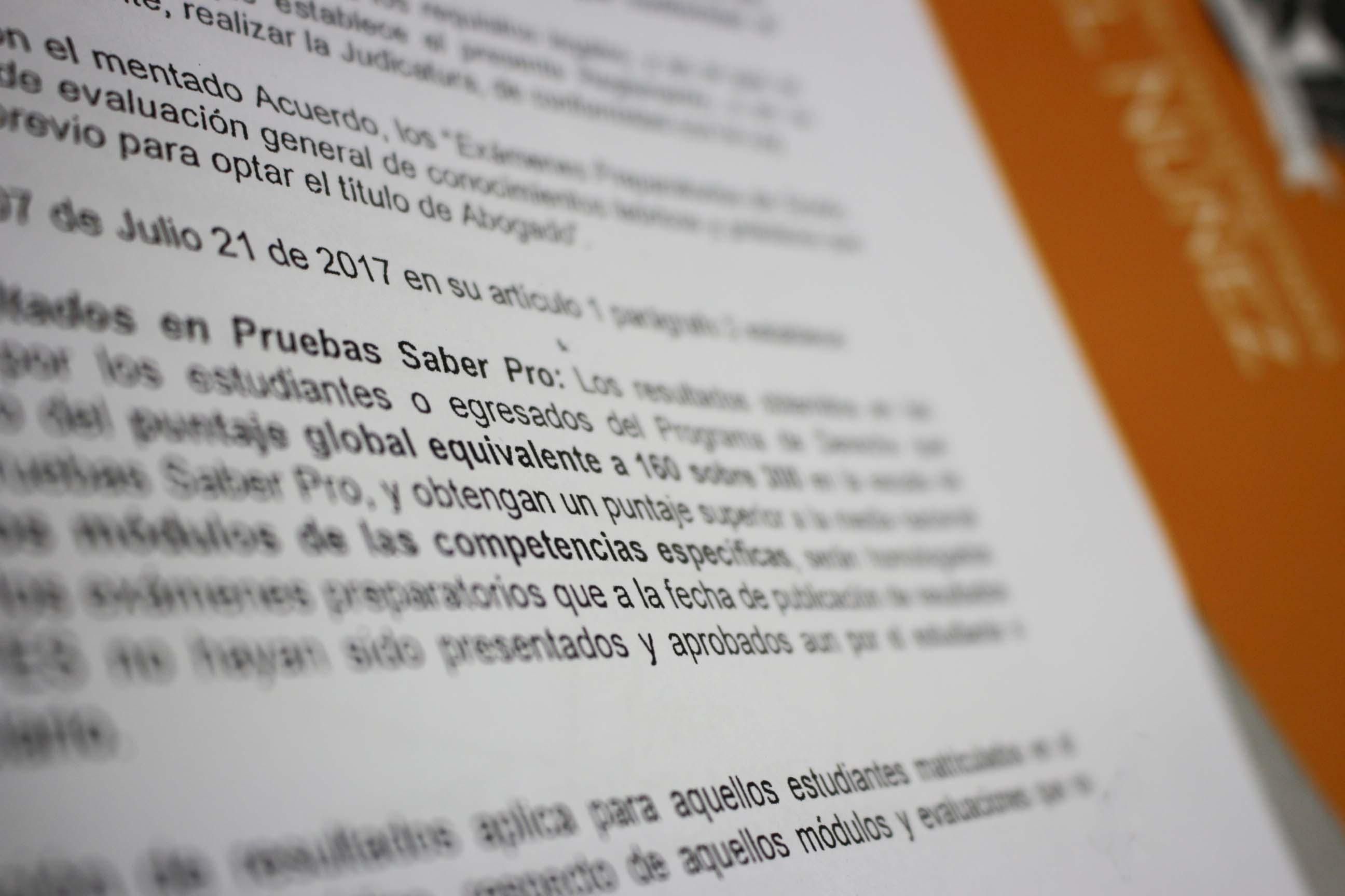 Reconocimiento de Estímulos por Pruebas Saber Pro: Programa de Derecho Cartagena