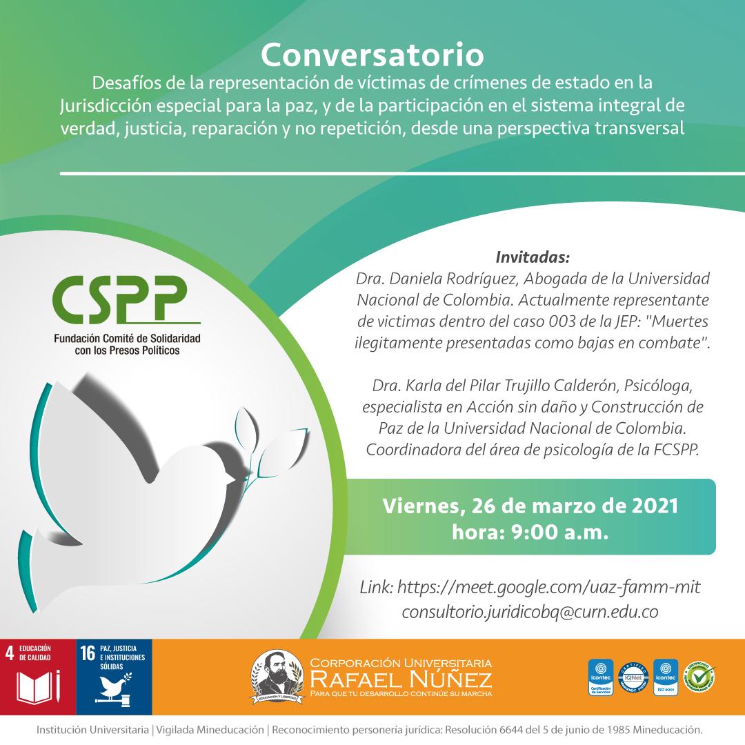 Uninúñez campus Barranquilla realiza importante conversatorio de víctimas de crímenes de estado con dos invitadas de lujo.