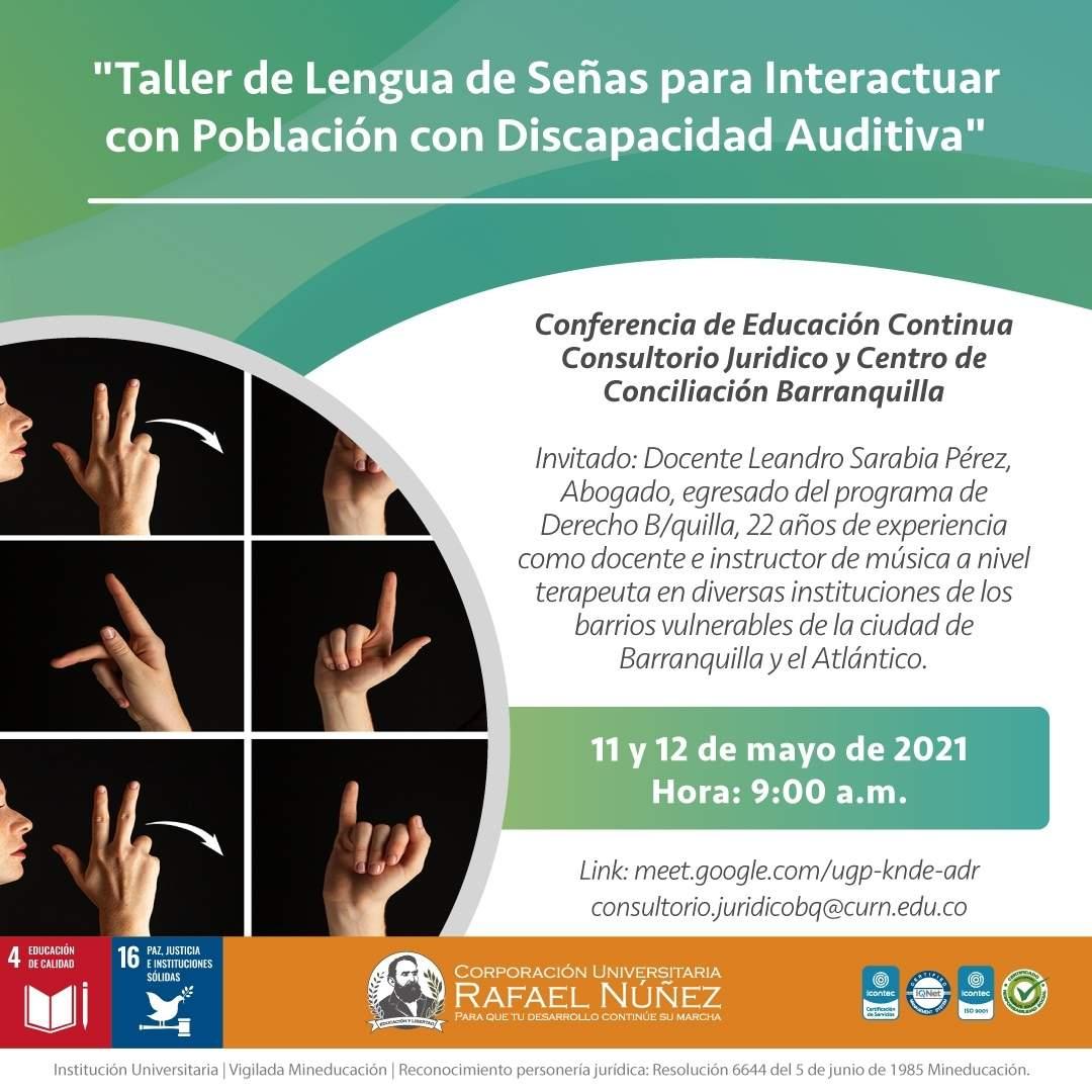Uninúñez Barranquilla realiza taller de lenguaje de señas para interactuar con población con discapacidad auditiva.