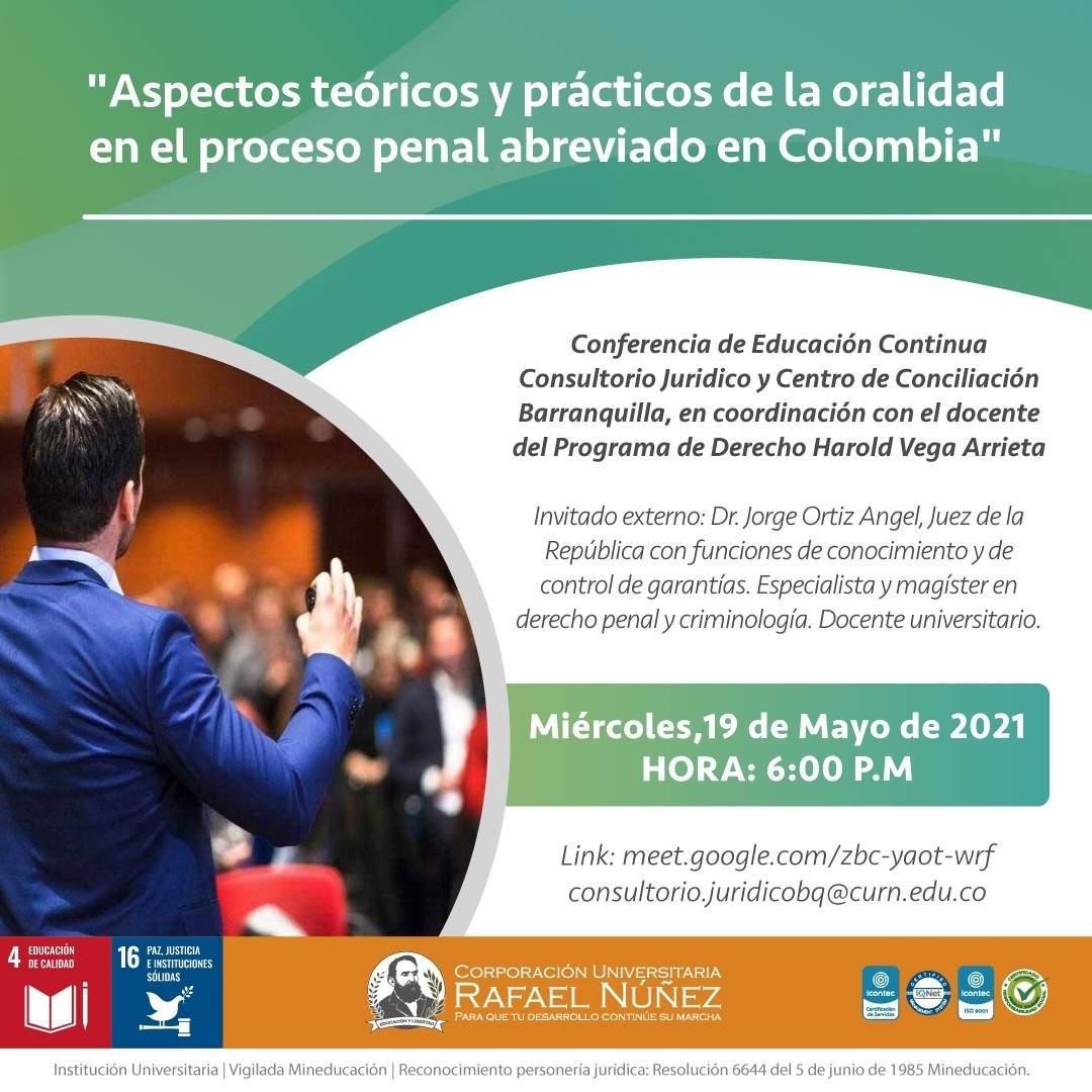 Se realiza con éxito la conferencia Aspectos teóricos y prácticos de la oralidad en el proceso penal abreviado en Colombia.