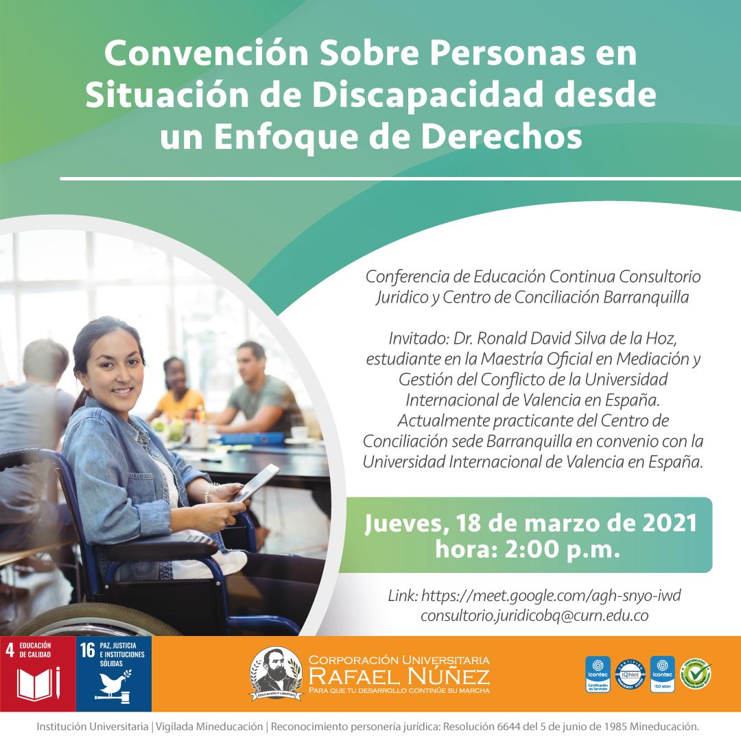 """La Uninúñez campus Barranquilla realiza conferencia sobre """"Convención sobre personas en situación de discapacidad desde un enfoque de derechos""""."""