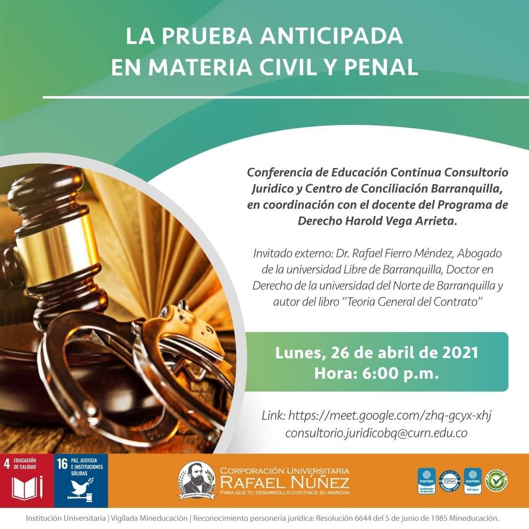 La Uninúñez Barranquilla realiza la conferencia La prueba anticipada en materia civil y penal.