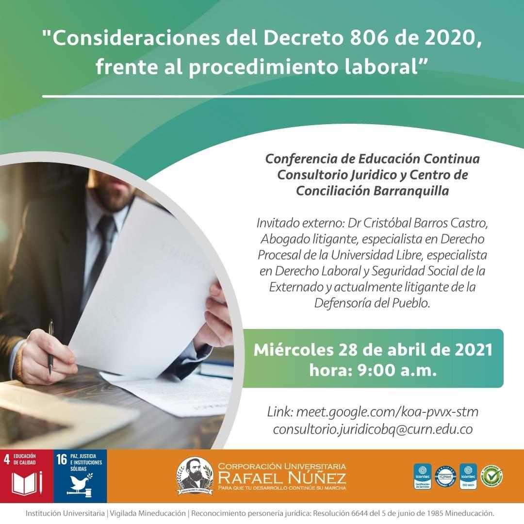 Consultorio Jurídico de la CURN Barranquilla realiza conferencia Consideraciones del Decreto 806 de 2020, frente al procedimiento laboral.