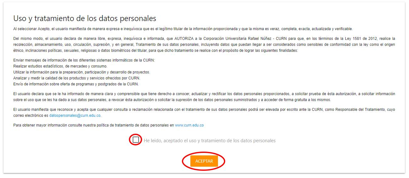 3. Aceptación tratamiento de datos personales
